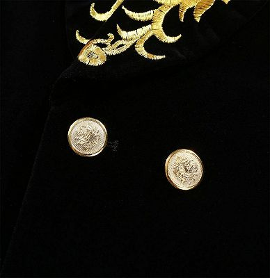 Black Velvet One Piece Jacket | Gold Embroidered Double Breasted Tuxedo_4