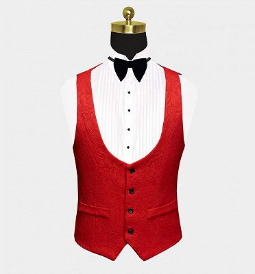 Fashion Red Floral Tuxedo | Bespoke three Pieces Men Suits with Black Lapel_3