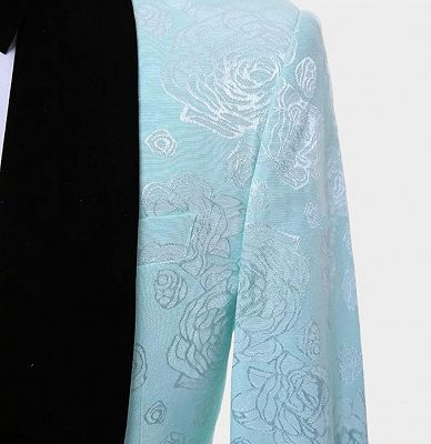 Floral Turquoise Tuxedo with Shawl Lapel | Tailored Three Pieces Prom Suits_4