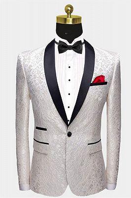 White Jacqard Wedding Men Suits | Slim Fit Dinner Blazer_1