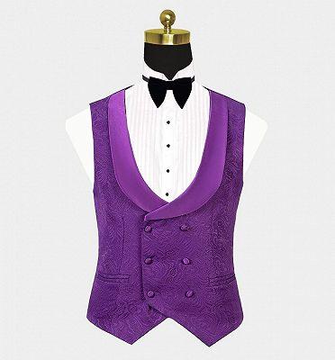 Vintage Jacquare Violet Men Suits | 3 Pieces Prom Suits_3