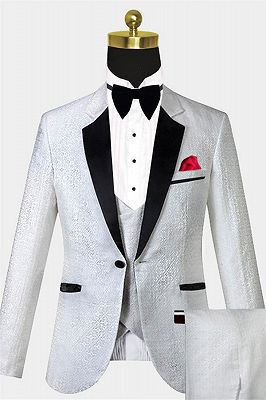White Vintage Dinner Suits | Print Floral Custom Tuxedo for Men_1