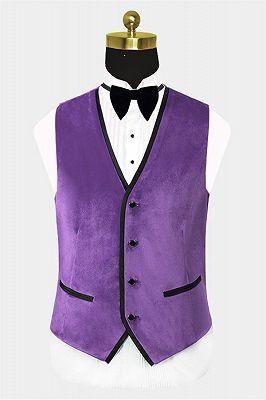 Iris Purple Velvet Tuxedo with Peak Lapel | Three Pieces Slim Fit Men Suits for Prom_2