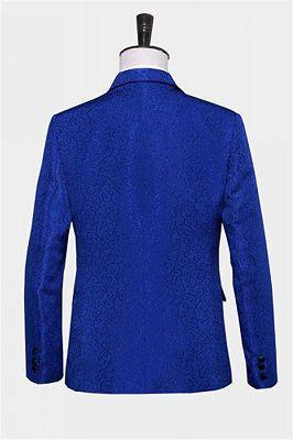 Royal Blue Jacquard Tuxedo Jacket | Stylish Slim Fit Blazer for Men_2