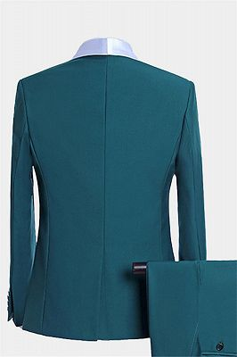 Teal Blue Tuxedo with Light-colored Trim | Formal Business Men Suits_2