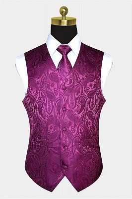 New Arrival Silk Magenta Purple Men Vest_1