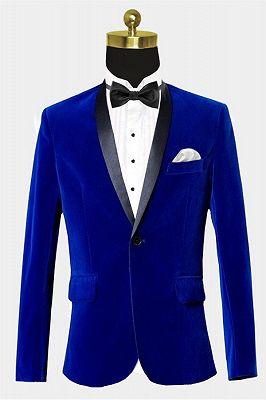 Royal Blue Velvet Tuxedo Jacket | Shawl Lapel Prom Suits Online_1