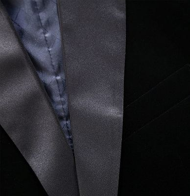 Black Velvet Men Suits Online | Custom Peak Lapel Blazer with One Button_3