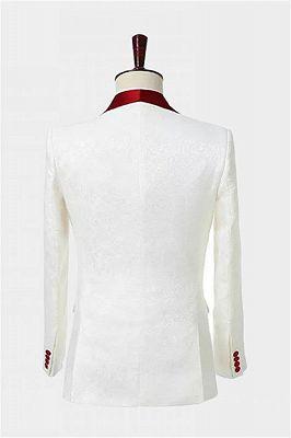 Double Breasted Floral White Men Suits   Unique Two Pieces Slim Fit Tuxedo_2
