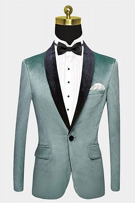Turquoise Velvet Tuxedo Jacket | Cheap One Button Prom Blazer_1