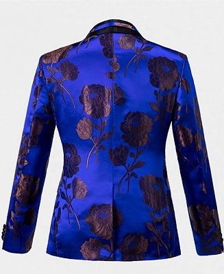 Bronze Royal Blue Floral Tuxedo Online | Tailored Three Pieces Men Suits_2