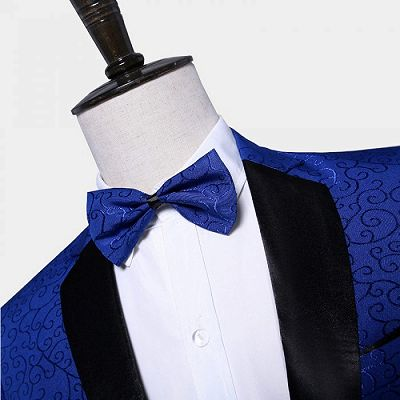 Royal Blue Jacquard Tuxedo Jacket | Stylish Slim Fit Blazer for Men_3
