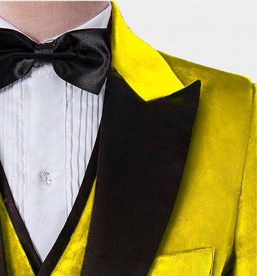 Yellow Velvet Tuxedo for Men | Three Pieces Slim Fit Prom Suits_3