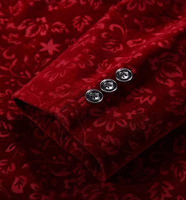 Burgundy Floral Velvet Blazer   Fashion Suit Sizes for Men_4