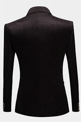 Glamorous Black Sequin Blazer | Peak Lapel One Button Men Suits_2