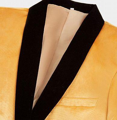 Yellow Velvet Blazer Suits | Slim Fit One Button Prom Tuxedo_3