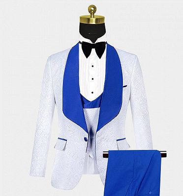 White Jacquard Tuxedo with Blue Shawl Lapel | Custom Three Pieces Suits Sale_3