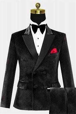 Custom Double Breasted Velvet Tuxedo| Black Peak Lapel Men Suits_1