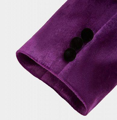 Simple Purple Velvet Men Suit | One Piece Mens Slim Suits_5