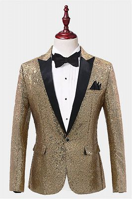Sparkly Gold Sequin Tuxedo Blazer | Men Suits for Prom_1