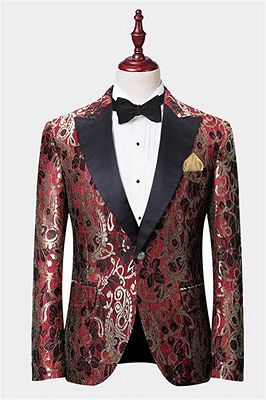 Gorgeous Red Floral Blazer | Prom Suits with One Button_1