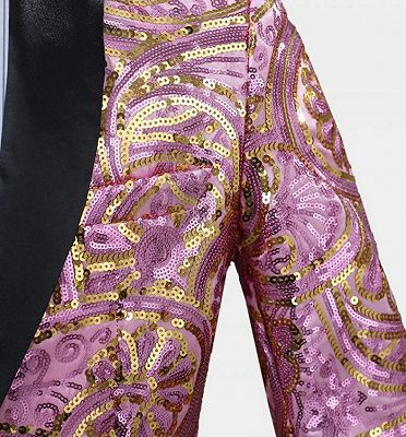 Shiny Sequins Men Suits for Prom | Pink Shawl Lapel Blazer Jacket_2
