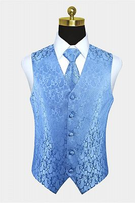 Light Blue Party Prom Paisley Mens Waistcoat with Tie Set_1