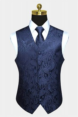 Silk Navy Blue Paisley Vest with Tie Set_1