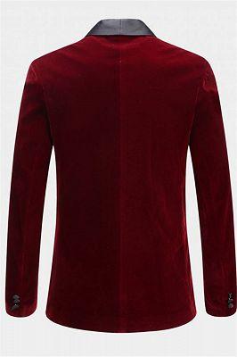 Burgundy Velvet Blazer Jacket | Two Pieces Shawl Lapel Men Suits_2