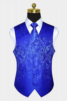 Royal Blue Paisley Mens Vest_1
