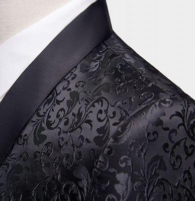 Black Jacquard Dinner Suits for Men | Formal Shawl Lapel One Button Blazer_3