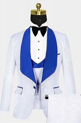 White Jacquard Tuxedo with Blue Shawl Lapel | Custom Three Pieces Suits Sale_1