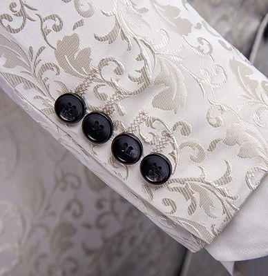 White Jacqard Wedding Men Suits | Slim Fit Dinner Blazer_5
