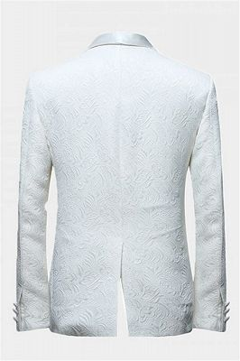 White Jacquard Wedding Men Suits | Elegant Two Piece Shawl Lapel Groom Suits_2