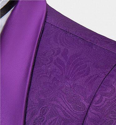 Vintage Jacquare Violet Men Suits | 3 Pieces Prom Suits_4