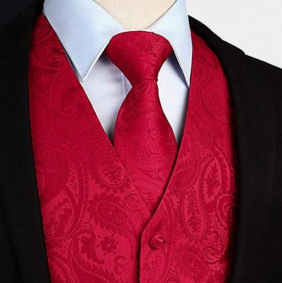Stylish Silk Red Paisley Mens Dress Vest for Prom_3