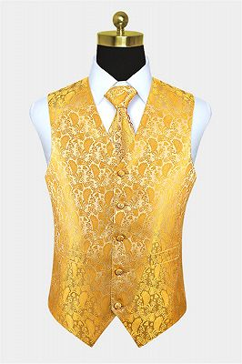 Tailored Gold Paisley Waistcoat with Tie Online_1