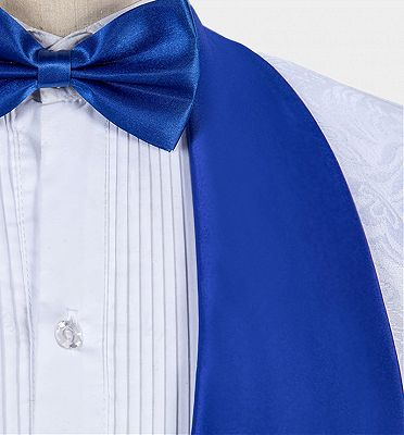 White Jacquard Tuxedo with Blue Shawl Lapel | Custom Three Pieces Suits Sale_5