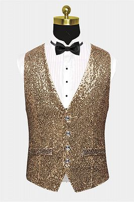 Fashion Gold Sequined Men Vest for Prom Cheap Online_1