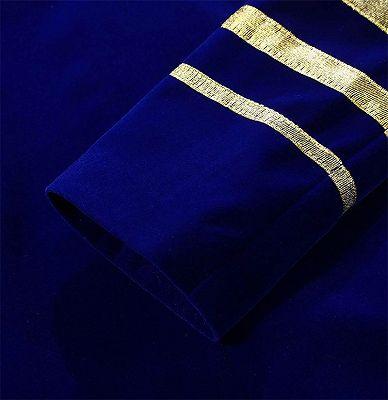Royal Blue Blazer for Men | Gold Embroidered Lapel Velvet Jacket_5