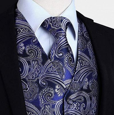 Fashion Cobalt Blue Paisley Prom Mens Vest Online_3