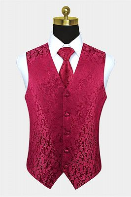 Silk Ruby Paisley Waistcoat | Fashion Prom Mens Vest