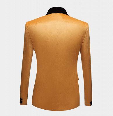 Yellow Velvet Blazer Suits | Slim Fit One Button Prom Tuxedo_2