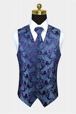 Turquoise Paisley Vest Set for Sale_1
