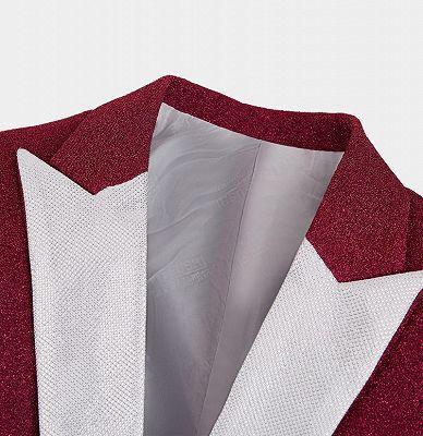 Cheap Fuchsia Glitter Tuxedo Jacket | Sequin Slim Fit Prom Men Suits_3