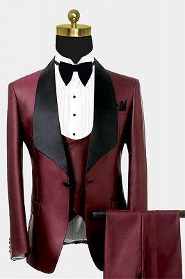 Fashion Burguny Three Pieces Men Suits   Black Shawl Lapel Tuxedo Online_1