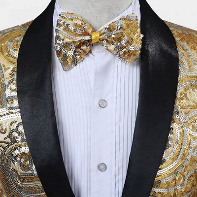 Gold Sequins Blazer with One Button | Cheap Prom Blazers for Men_2