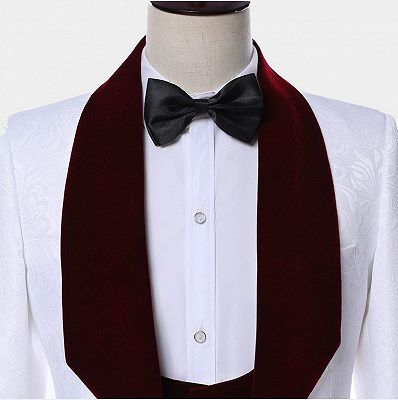 White Jacquard Men Suits with Burgundy Lapel | Floral Tuxedo_4