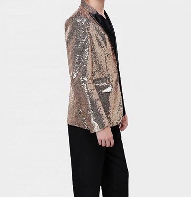 Sparkly Gold Sequin Tuxedo Blazer | Men Suits for Prom_4