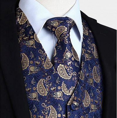 Blue and Tan Paisley Waistcoat Set for Men_3